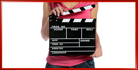Video Marketing Woman with Movie Clapper Slate