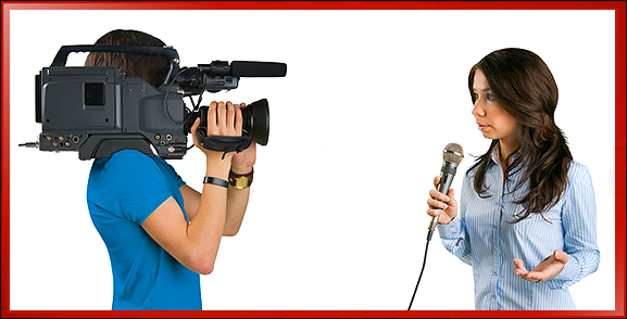 ENG Camera Operator Interviewing Woman with Microphone