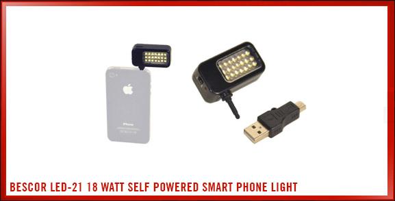 Bescor LED-21 18 Watt Self Powered Smart Phone Light