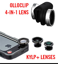 iPhone OlloClip 4-in-1 Lens, Manfrotto Klyp+ Lenses