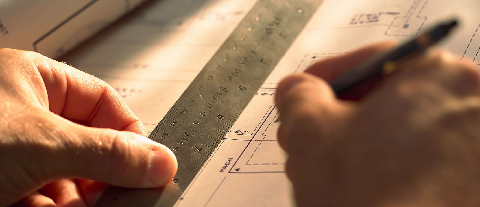 Blue Print Paper Document and Ruler, Hand Holds Pen